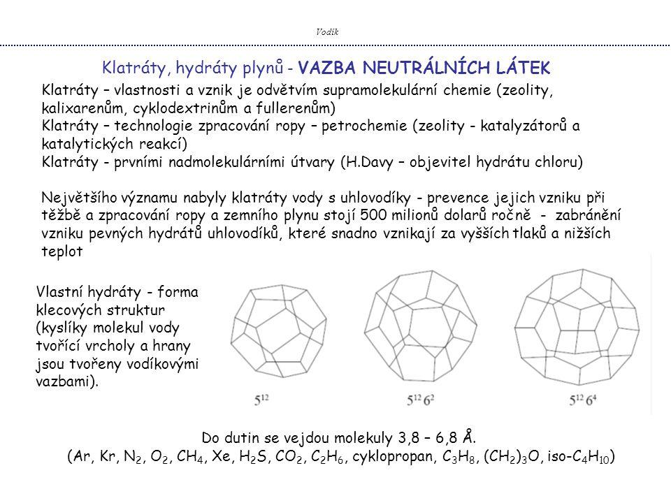 Do dutin se vejdou molekuly 3,8 – 6,8 Å.