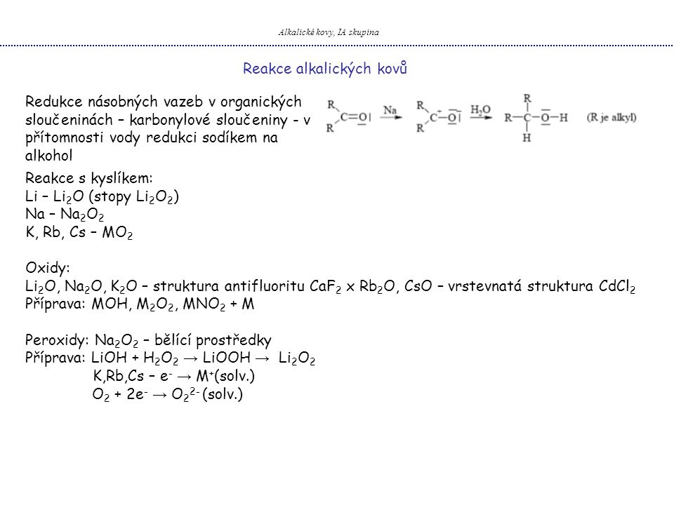 Alkalické kovy, IA skupina