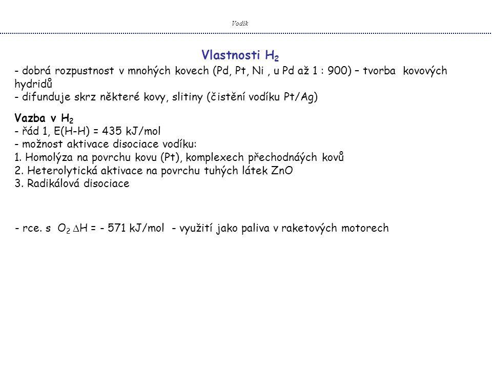 Vodík Vlastnosti H2. dobrá rozpustnost v mnohých kovech (Pd, Pt, Ni , u Pd až 1 : 900) – tvorba kovových hydridů.