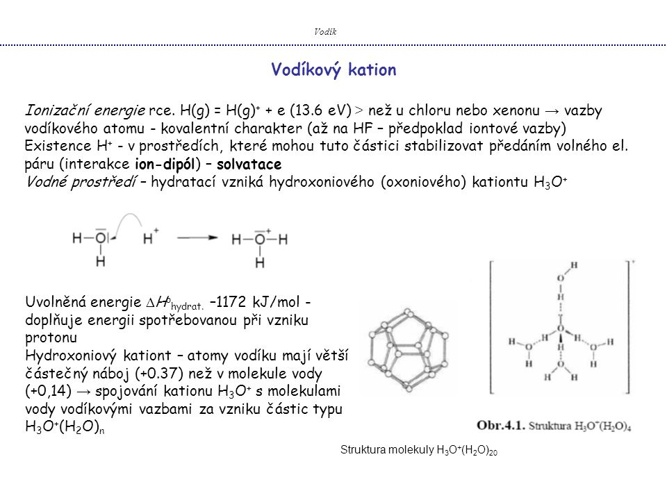 Vodík Vodíkový kation.