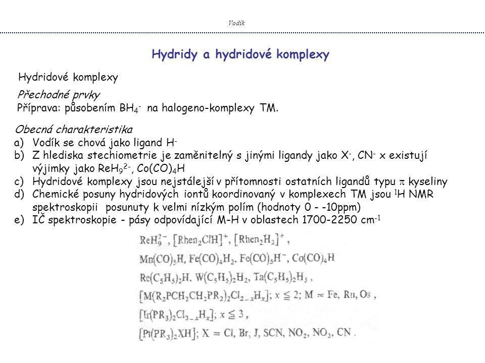 Hydridy a hydridové komplexy