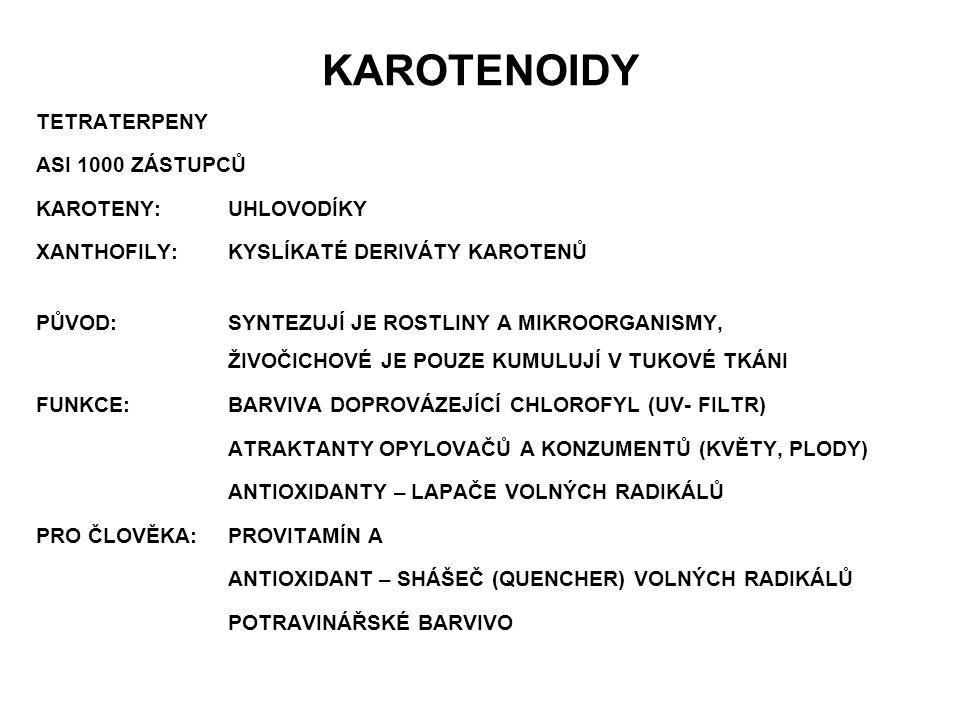 KAROTENOIDY TETRATERPENY ASI 1000 ZÁSTUPCŮ KAROTENY: UHLOVODÍKY