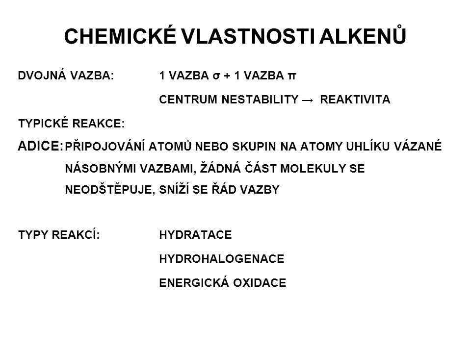 CHEMICKÉ VLASTNOSTI ALKENŮ