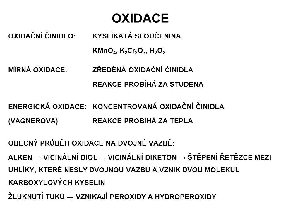 OXIDACE OXIDAČNÍ ČINIDLO: KYSLÍKATÁ SLOUČENINA KMnO4, K2Cr2O7, H2O2