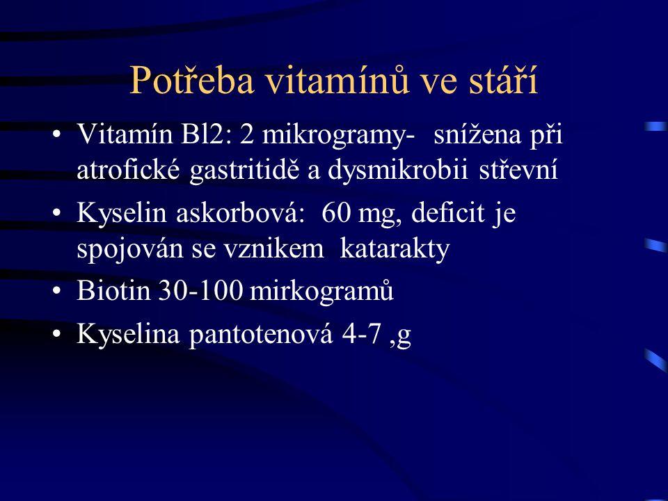 Potřeba vitamínů ve stáří