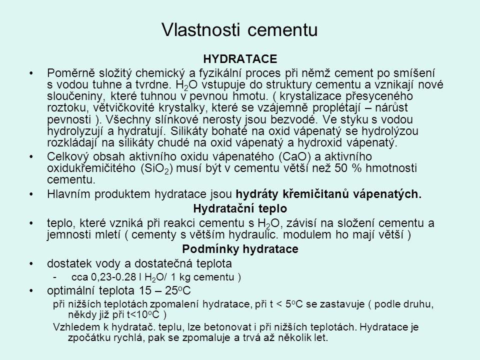 Vlastnosti cementu HYDRATACE