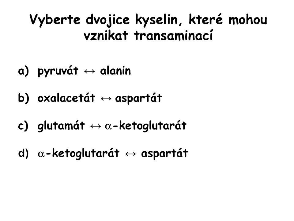 Vyberte dvojice kyselin, které mohou vznikat transaminací
