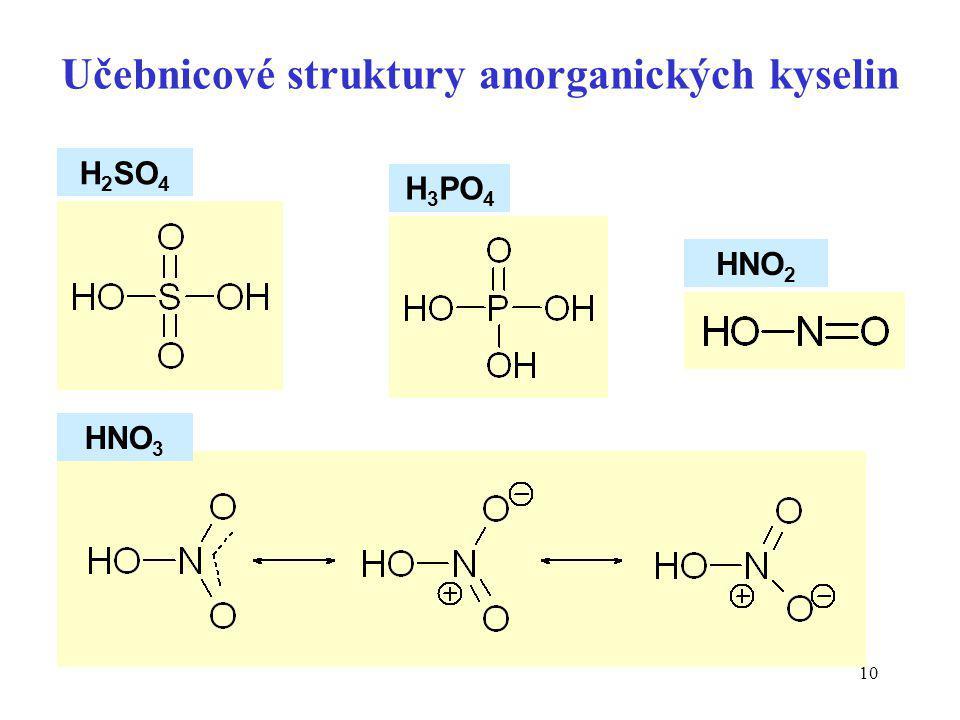 Učebnicové struktury anorganických kyselin