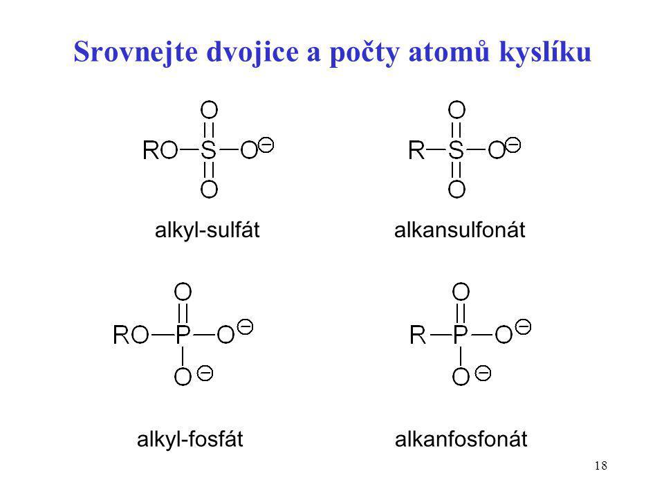 Srovnejte dvojice a počty atomů kyslíku