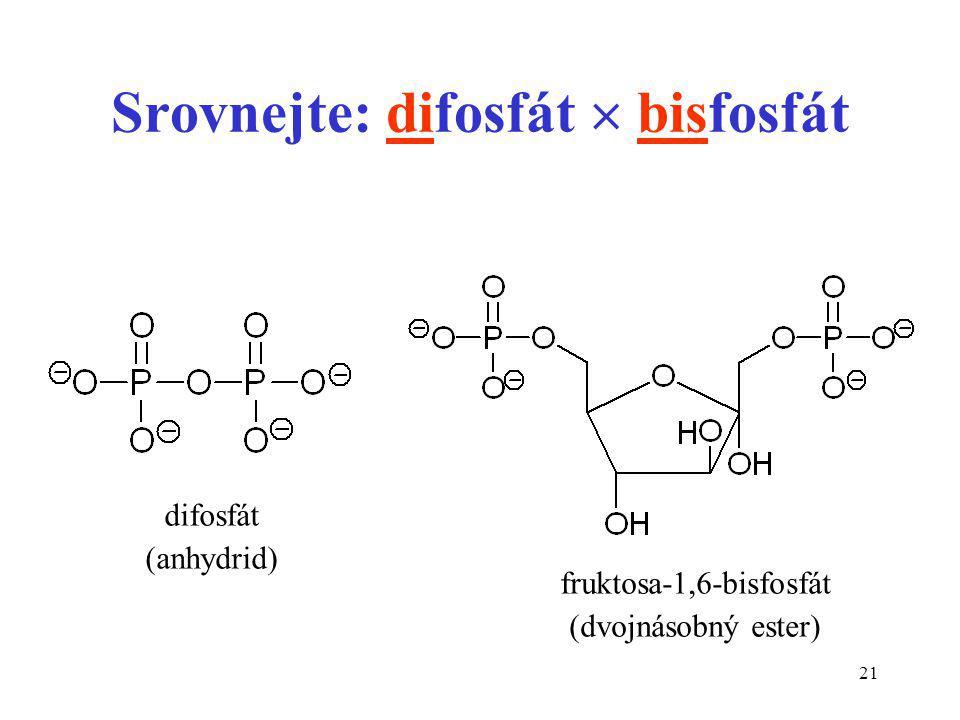 Srovnejte: difosfát  bisfosfát