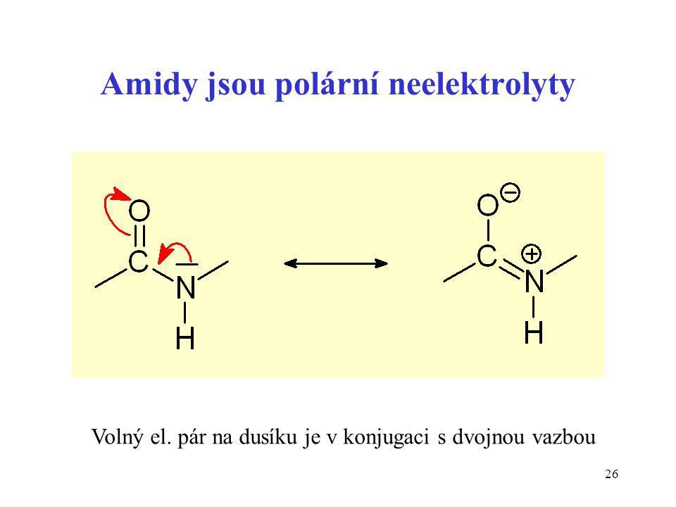 Amidy jsou polární neelektrolyty