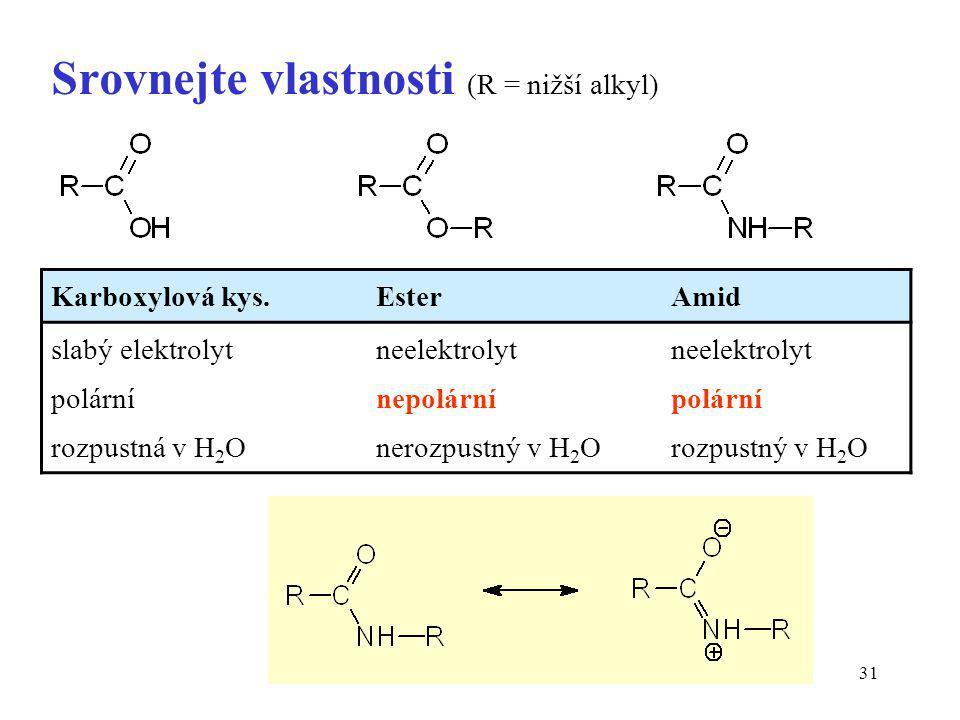 Srovnejte vlastnosti (R = nižší alkyl)