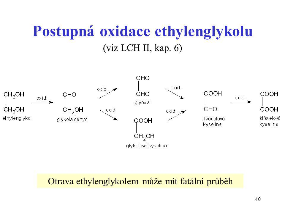 Postupná oxidace ethylenglykolu (viz LCH II, kap. 6)