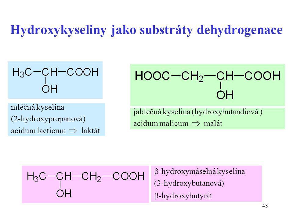 Hydroxykyseliny jako substráty dehydrogenace