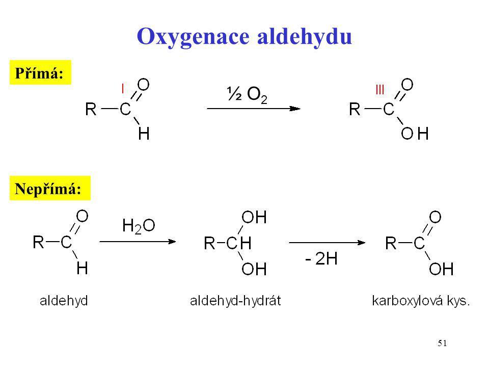 Oxygenace aldehydu Přímá: ½ O2 Nepřímá: