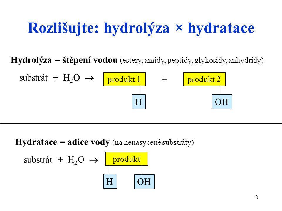 Rozlišujte: hydrolýza × hydratace