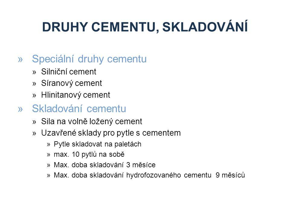 Druhy cementu, skladování