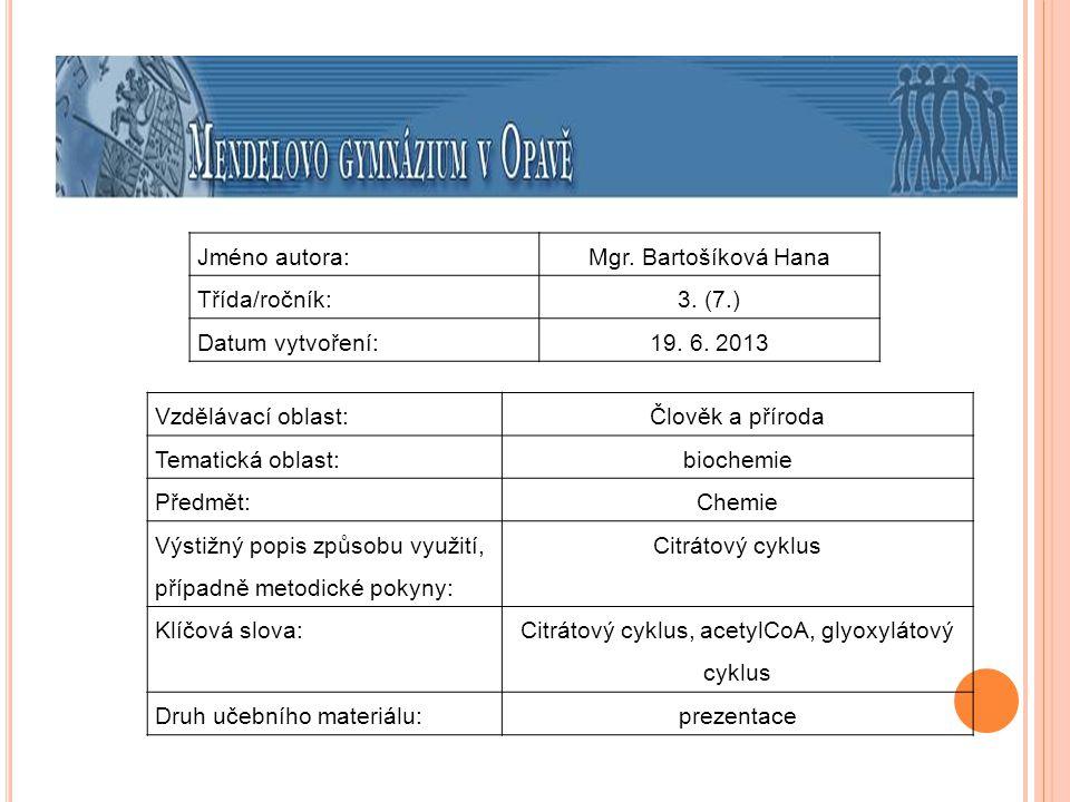 Citrátový cyklus, acetylCoA, glyoxylátový cyklus