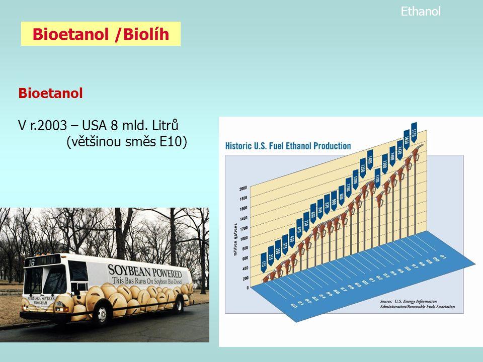 Bioetanol /Biolíh Bioetanol V r.2003 – USA 8 mld. Litrů