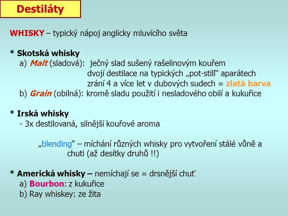Destiláty WHISKY – typický nápoj anglicky mluvícího světa
