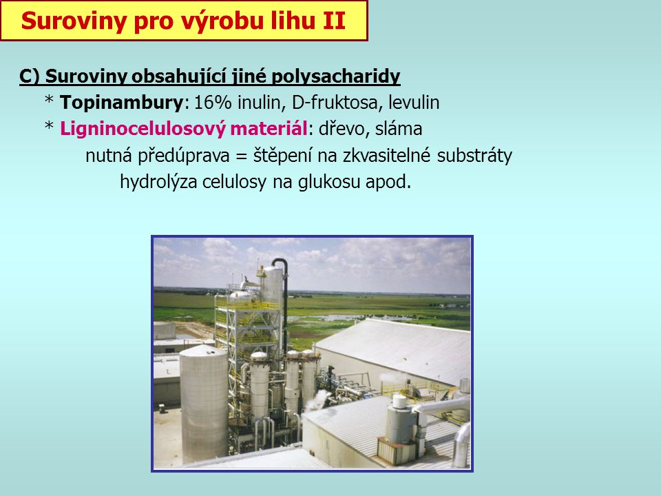 Suroviny pro výrobu lihu II