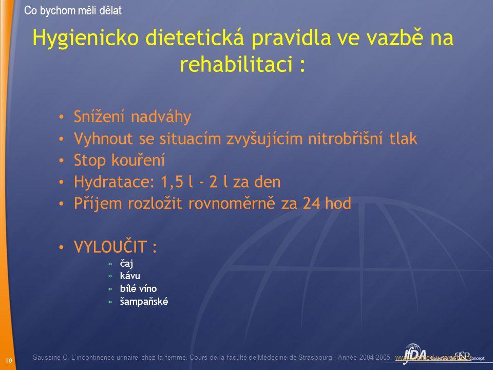 Hygienicko dietetická pravidla ve vazbě na rehabilitaci :