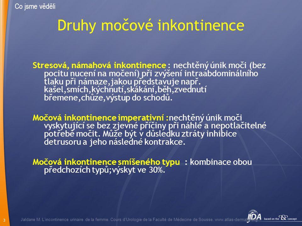 Druhy močové inkontinence