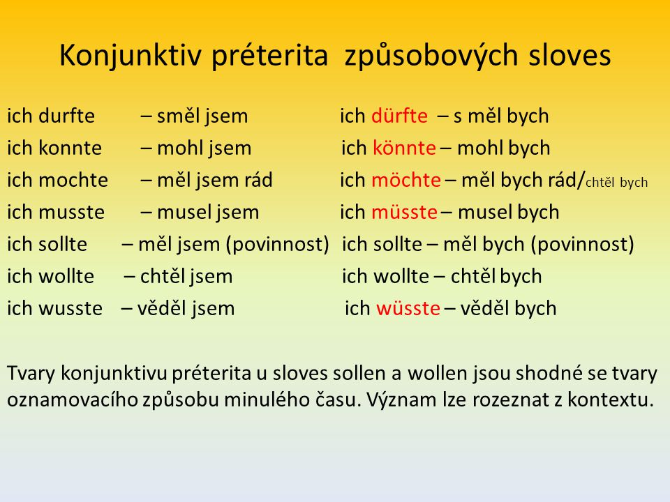 Konjunktiv préterita způsobových sloves