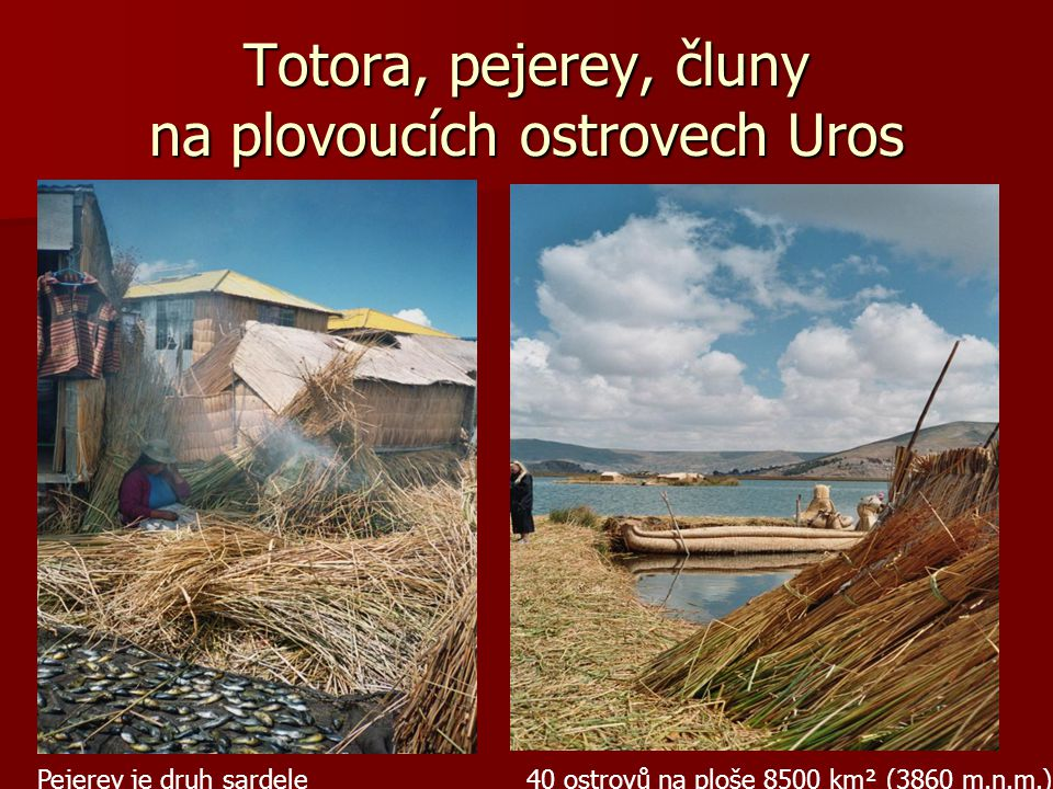 Totora, pejerey, čluny na plovoucích ostrovech Uros