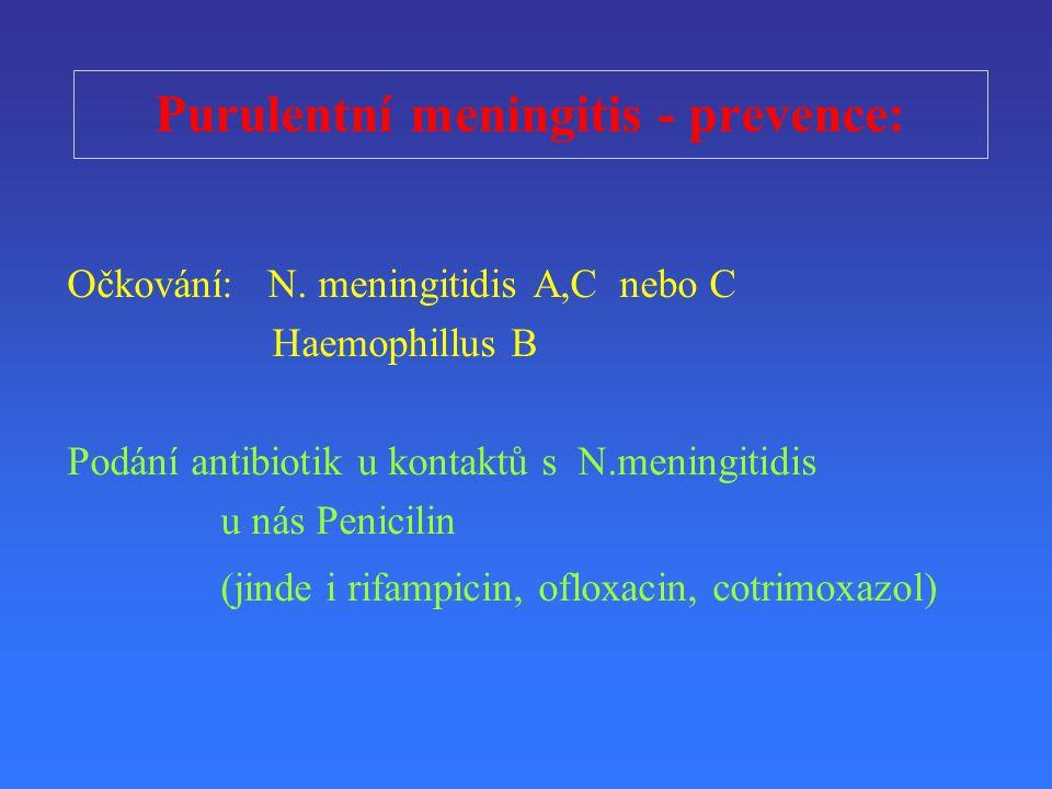 Purulentní meningitis - prevence: