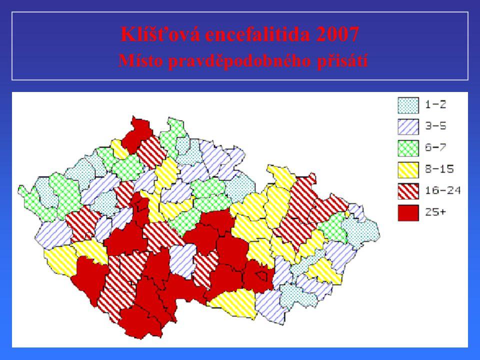 Klíšťová encefalitida 2007 Místo pravděpodobného přisátí
