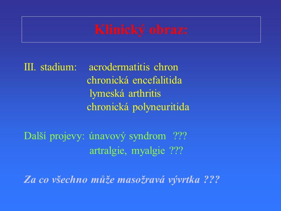 Klinický obraz: III. stadium: acrodermatitis chron