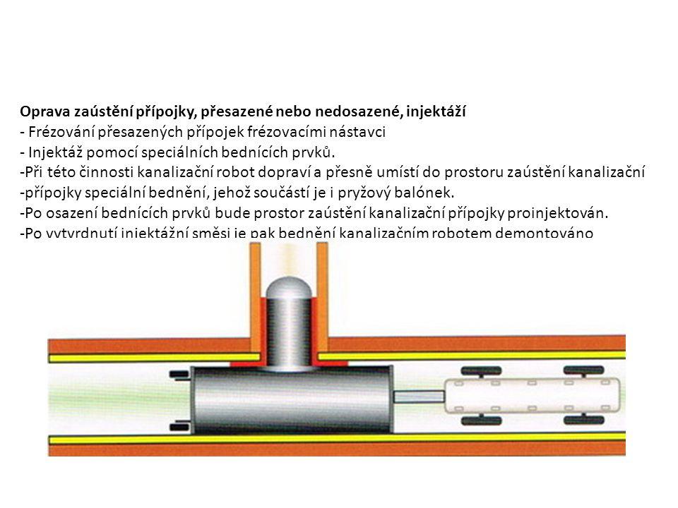 Oprava zaústění přípojky, přesazené nebo nedosazené, injektáží