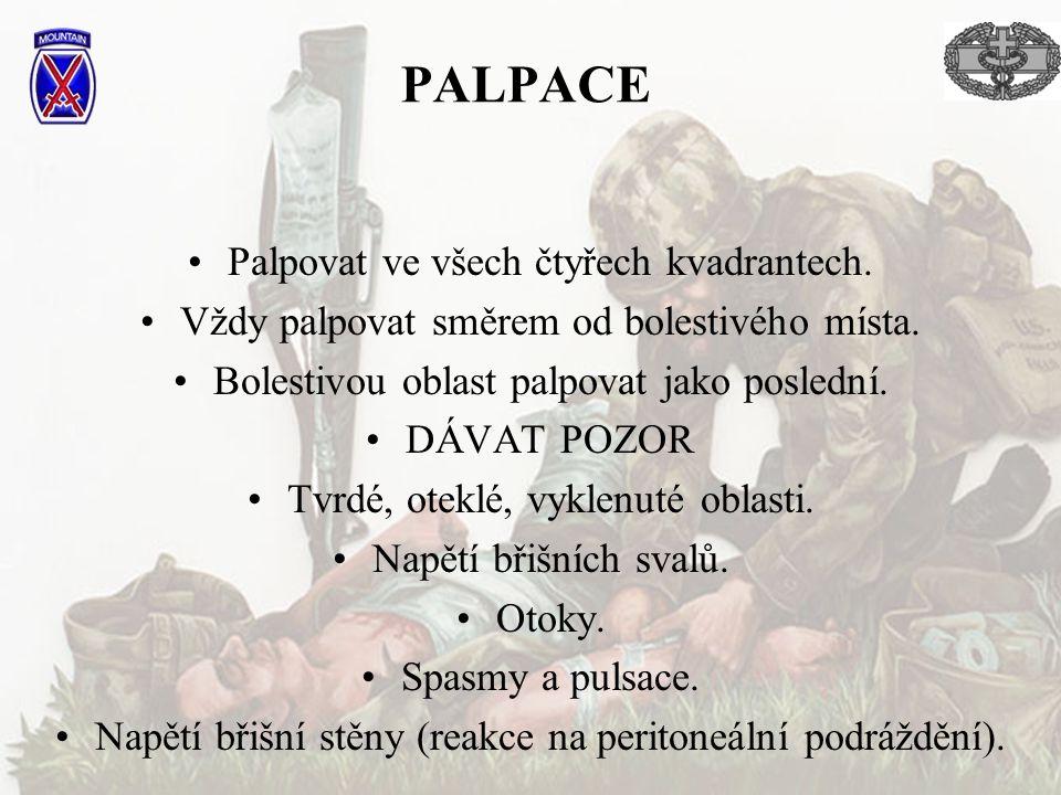 PALPACE Palpovat ve všech čtyřech kvadrantech.