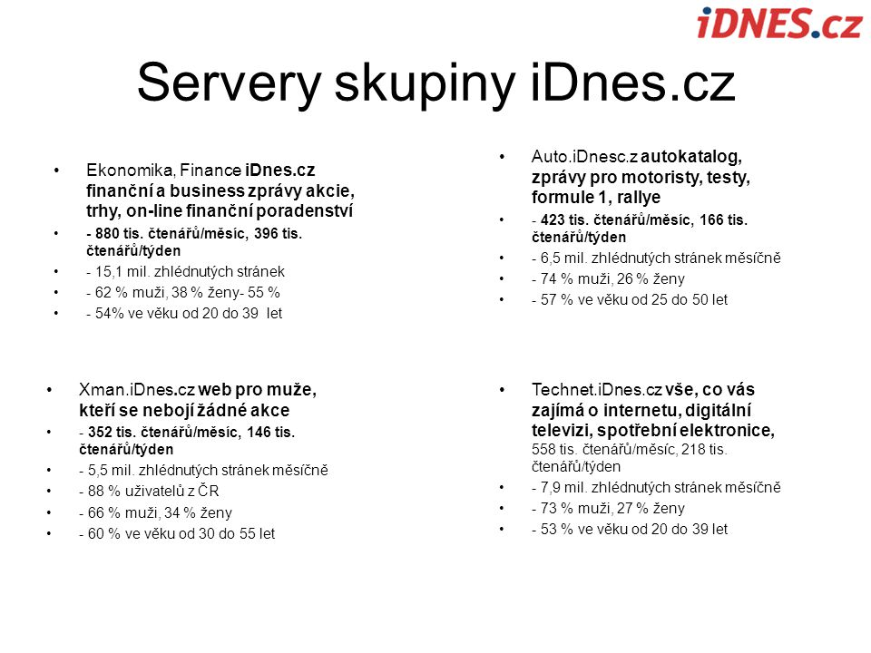 Servery skupiny iDnes.cz