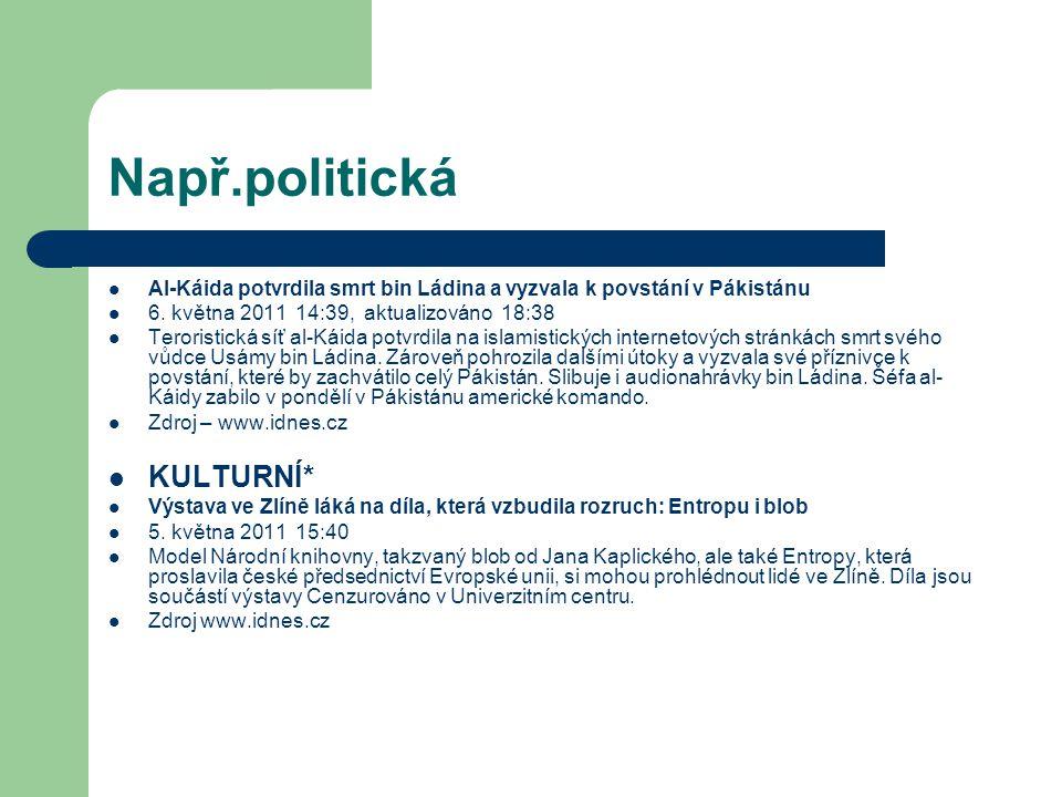 Např.politická KULTURNÍ*