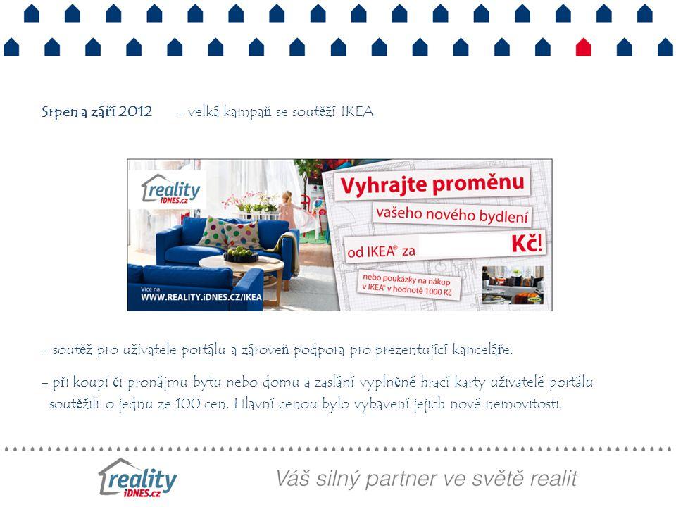 Srpen a září 2012 - velká kampaň se soutěží IKEA - soutěž pro uživatele portálu a zároveň podpora pro prezentující kanceláře.