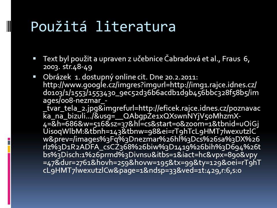 Použitá literatura Text byl použit a upraven z učebnice Čabradová et al., Fraus 6, 2003. str.48-49.