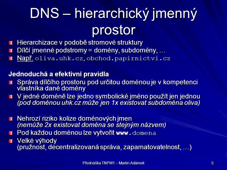 DNS – hierarchický jmenný prostor