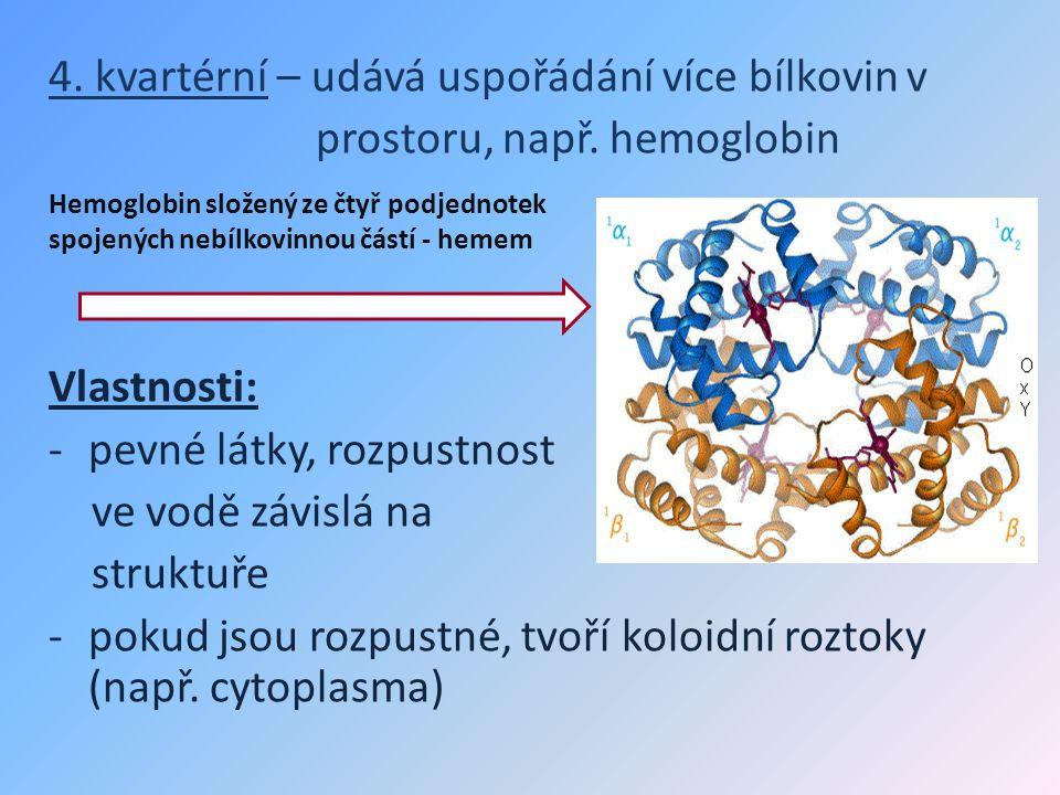 4. kvartérní – udává uspořádání více bílkovin v