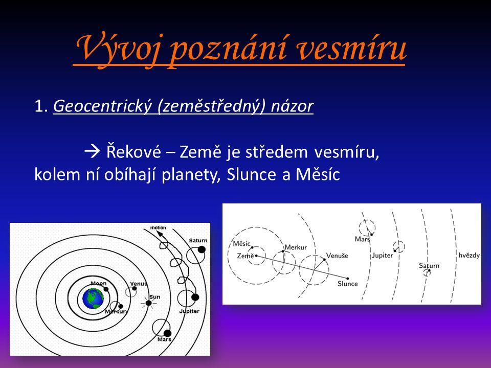 Vývoj poznání vesmíru 1. Geocentrický (zeměstředný) názor
