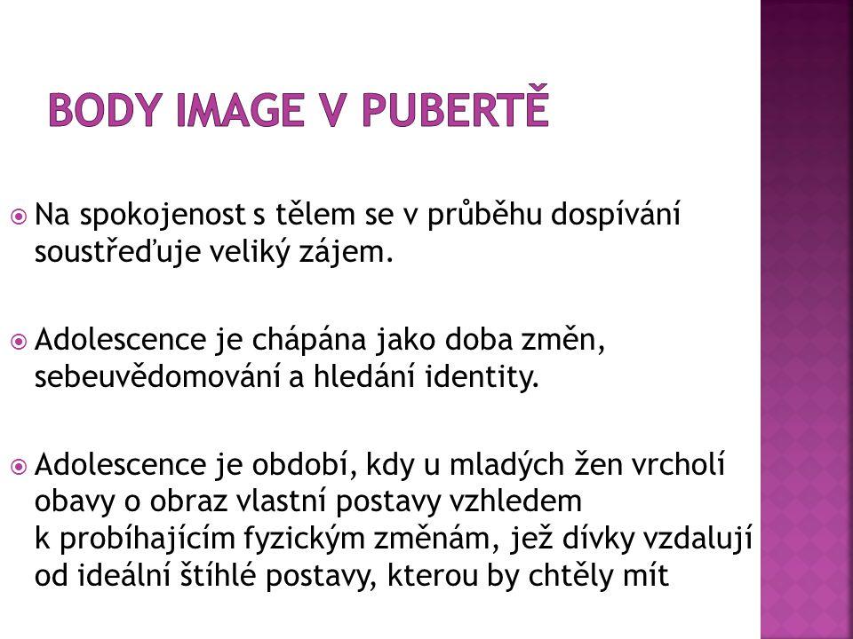 Body image v pubertě Na spokojenost s tělem se v průběhu dospívání soustřeďuje veliký zájem.