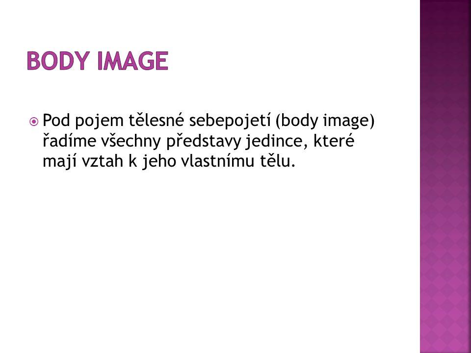 Body image Pod pojem tělesné sebepojetí (body image) řadíme všechny představy jedince, které mají vztah k jeho vlastnímu tělu.