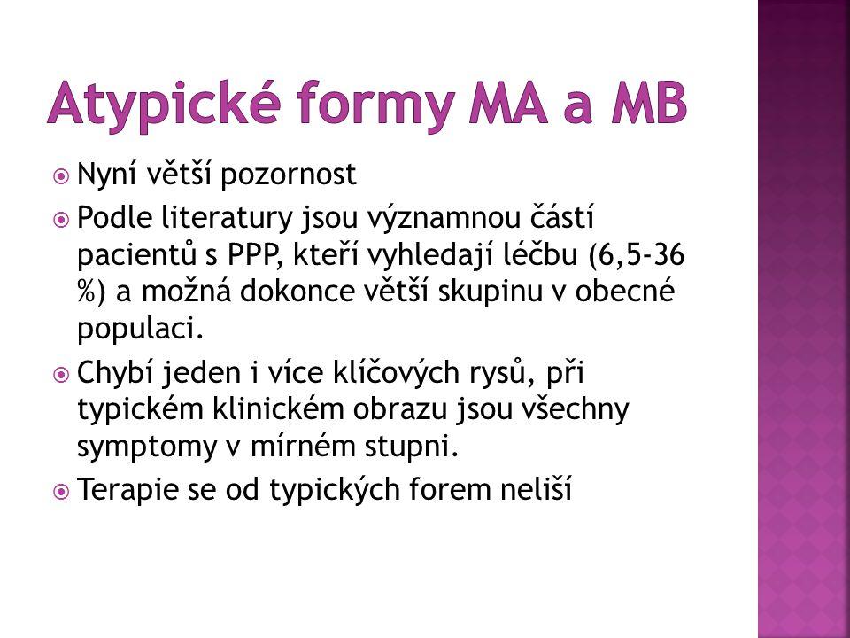 Atypické formy MA a MB Nyní větší pozornost