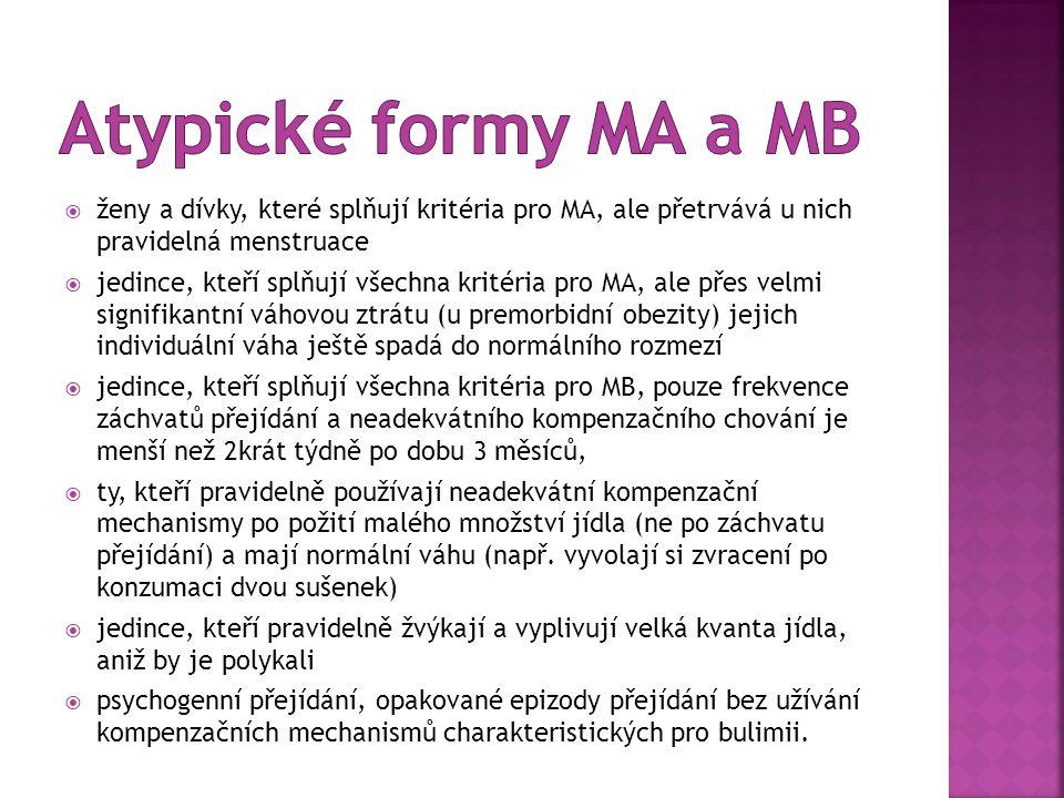 Atypické formy MA a MB ženy a dívky, které splňují kritéria pro MA, ale přetrvává u nich pravidelná menstruace.