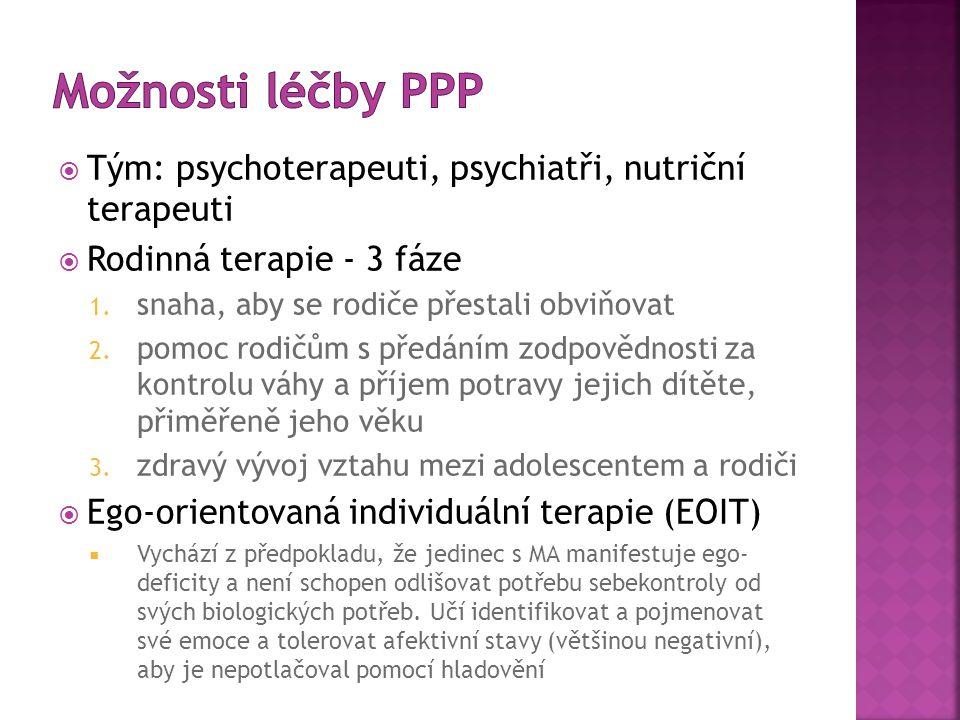 Možnosti léčby PPP Tým: psychoterapeuti, psychiatři, nutriční terapeuti. Rodinná terapie - 3 fáze.