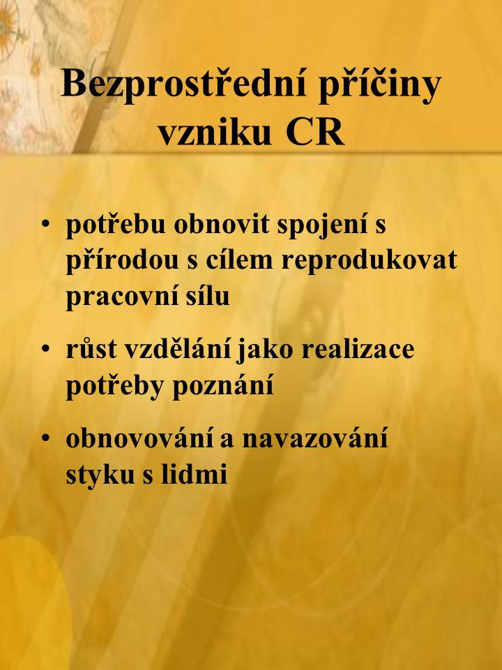 Bezprostřední příčiny vzniku CR