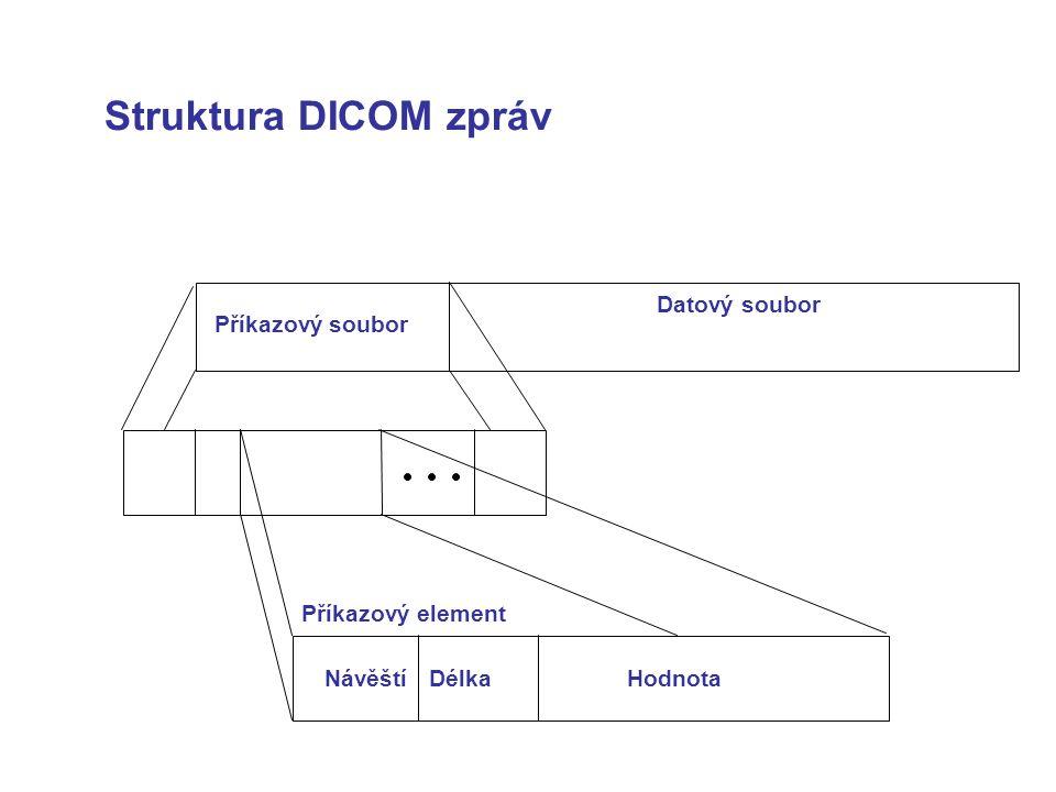 Struktura DICOM zpráv Příkazový soubor Datový soubor Příkazový element