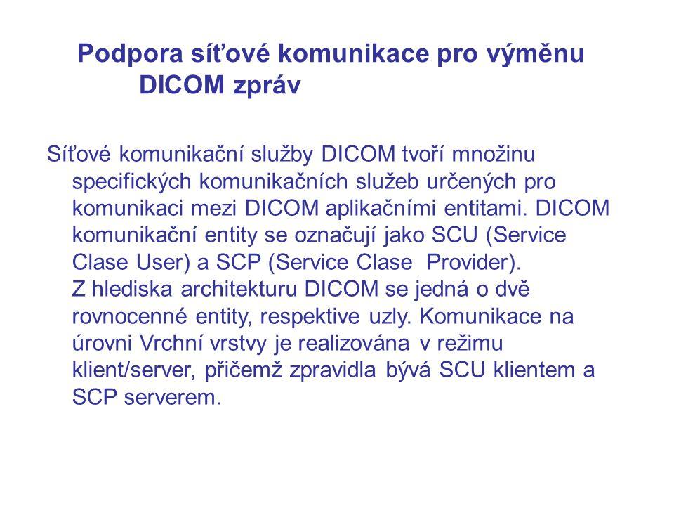 Podpora síťové komunikace pro výměnu DICOM zpráv