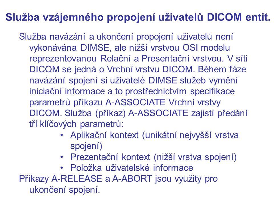 Služba vzájemného propojení uživatelů DICOM entit.